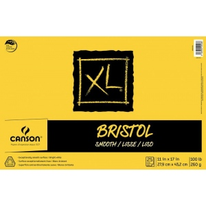 "Canson® XL® 11"" x 17"" Smooth Bristol Pad (Fold Over): Fold Over, White/Ivory, Pad, 11"" x 17"", Smooth, Bristol, 100 lb, (model C400061836), price per pad"