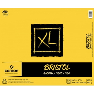 "Canson® XL® 14"" x 17"" Smooth Bristol Pad (Fold Over); Binding: Fold Over; Color: White/Ivory; Format: Pad; Size: 14"" x 17""; Texture: Smooth; Type: Bristol; Weight: 100 lb; (model C400061837), price per pad"