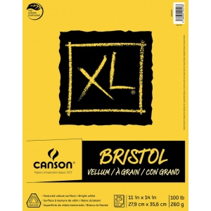 """Canson® XL® 11"""" x 14"""" Vellum Bristol Pad (Fold Over); Binding: Fold Over; Color: White/Ivory; Format: Pad; Size: 11"""" x 14""""; Texture: Smooth; Type: Bristol; Weight: 100 lb; (model C400061839), price per pad"""