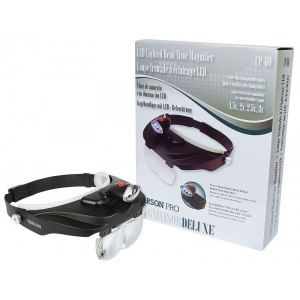 Carson® MagniVisor™ Deluxe Head-Worn Magnifier with Removable LED Light; Magnification: 1.5x/2x/2.5x/3x; Type: Binocular; (model CCP60), price per each