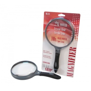 "Carson® SureGrip™ Hand Held Magnifier; Magnification: 2x/10x; Size: 5""; Type: Handheld; (model CSG14), price per each"