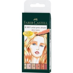 Faber-Castell® PITT® 6-Piece Skin Tones Artist Pen Wallet Set: India, Brush Nib, Brush Pen, (model FC167162), price per set