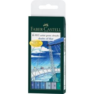 Faber-Castell® PITT® 6-Piece Blue Shades Artist Pen Wallet Set; Color: Blue; Ink Color: Blue; Ink Type: India; Tip Type: Brush Nib; Type: Brush Pen; (model FC167164), price per set