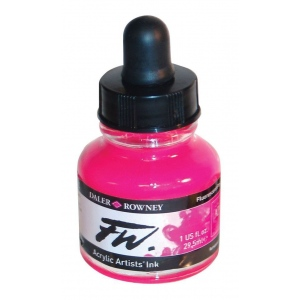 FW Liquid Artists' Acrylic Fluorescent Pink Ink; Color: Red/Pink; Format: Bottle; Ink Type: Acrylic; Size: 1 oz; (model FW160029538), price per each