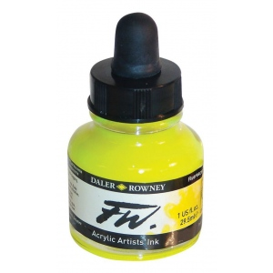 FW Liquid Artists' Acrylic Fluorescent Yellow Ink; Color: Yellow; Format: Bottle; Ink Type: Acrylic; Size: 1 oz; (model FW160029681), price per each