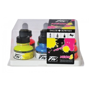 FW Liquid Artists' Acrylic 6-Color Fluorescent Ink Set: Acrylic, 1 oz, (model FW160329006), price per set
