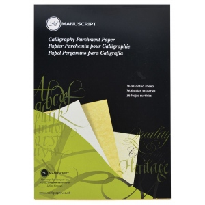 Manuscript Calligraphy Parchment Paper; Color: Assorted; Quantity: 36 Sheets; (model MC313), price per 36 Sheets