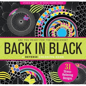 "Peter Pauper Press Studio Series™ Coloring Book Back In Black; Color: Black/Gray; Format: Book; Size: 9"" x 9 1/4""; (model PP1206), price per each"