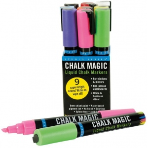 Peter Pauper Press Studio Series™ Peter Pauper Press Chalk Magic Liquid Chalk Marker Set; Color: Assorted; Ink Type: Water-Based; Tip Size: 6mm; Tip Type: Chisel Nib; Type: Paint Marker; (model PP8481), price per each