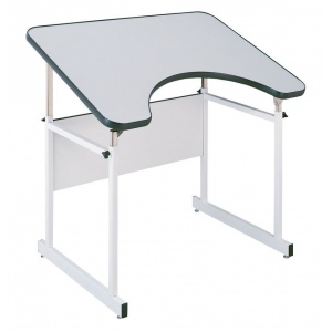 "Alvin® 4-Post Table White Base White Top; Angle Adjustment Range: 0 - 35; Base Color: White/Ivory; Base Material: Steel; Height Range: 29"" - 44""; Top Size: 30"" to 40""; (model REFLEX-4), price per each"