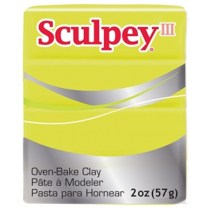 Sculpey® III Polymer Clay Acid Yellow; Color: Yellow; Format: Bar; Material: Polymer; Size: 2 oz; Type: Oven Bake; (model S302534), price per each