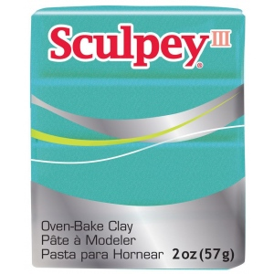 Sculpey® III Polymer Clay Teal Pearl: Blue, Bar, Polymer, 2 oz, Oven Bake, (model S302538), price per each