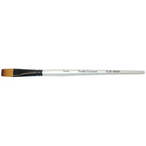 Daler-Rowney Simply Simmons Synthetic Acrylic/Multimedia Brush Flat Wash 1/2: Short Handle, Bristle, Flat Wash, Acrylic, Multimedia, (model SS255055050), price per each