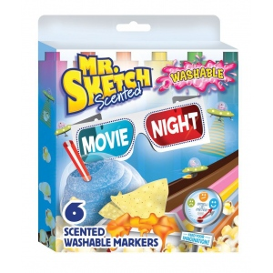 Mr. Sketch® 6-Color Scented Washable Marker Movie Night: Various, Water-Based, No, Chisel Nib, Scented Marker, Washable, (model SN1924260), price per set