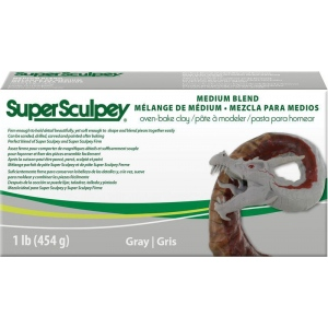 SuperSculpey® Medium Blend Clay; Color: Black/Gray; Format: Bar; Material: Polymer; Size: 1 lb; Type: Oven Bake; (model SSMED1), price per each