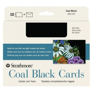 """Strathmore® Artagain® Full Size Cards; Color: Black/Gray; Format: Card; Size: 5"""" x 6 7/8""""; Texture: Medium; Type: Mixed Media; Weight: 60 lb; (model ST105-157), price per pack"""