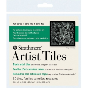 "Strathmore® Artagain® 4"" x 4"" Coal Black Artist Tiles: Black/Gray, Tile, 4"" x 4"", Medium, Mixed Media, 60 lb, (model ST105-979), price per pack"