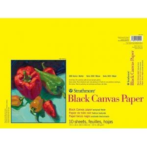 "Strathmore® 300 Series 12"" x 16"" Glue Bound Black Canvas Paper Pad: Black/Gray, Pad, 10 Sheets, 12"" x 16"", Canvas, 115 lb, (model ST310-212), price per 10 Sheets pad"