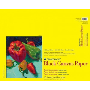 "Strathmore® 300 Series 16"" x 20"" Glue Bound Black Canvas Paper Pad; Color: Black/Gray; Format: Pad; Quantity: 10 Sheets; Size: 16"" x 20""; Type: Canvas; Weight: 115 lb; (model ST310-216), price per 10 Sheets pad"