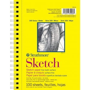 "Strathmore® 300 Series 5 1/2"" x 8 1/2"" Wire Bound Sketch Pad: Pad, 100 Sheets, 5 1/2"" x 8 1/2"", Sketching, 115 lb, (model ST350-6), price per 100 Sheets pad"