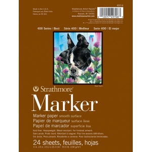 "Strathmore® 400 Series Marker Pad 6"" x 8""; Format: Pad; Quantity: 24 Sheets; Size: 6"" x 8""; Weight: 50.5 lb; (model ST497-6), price per 24 Sheets pad"