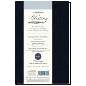 "Strathmore® Writing Series 5 1/2"" x 8 1/2"" Lined Hardbound Journal; Binding: Sewn Bound; Color: Blue; Format: Journal; Quantity: 80 Sheets; Size: 5 1/2"" x 8 1/2""; Type: Writing; Weight: 24 lb; (model ST573-51), price per each"