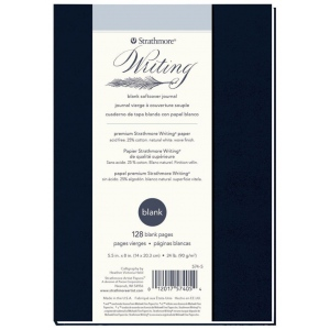 """Strathmore® Writing Series 5 1/2"""" x 8"""" Blank Softcover Journal; Binding: Sewn Bound; Color: Blue; Format: Journal; Quantity: 64 Sheets; Size: 5 1/2"""" x 8""""; Type: Writing; Weight: 24 lb; (model ST574-5), price per each"""