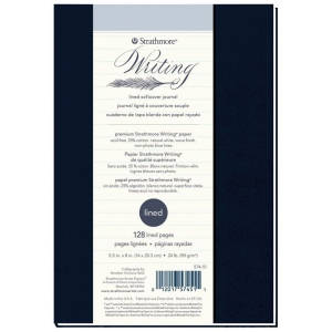 """Strathmore® Writing Series 5 1/2"""" x 8"""" Lined Softcover Journal: Sewn Bound, Blue, Journal, 64 Sheets, 5 1/2"""" x 8"""", Writing, 24 lb, (model ST574-51), price per each"""