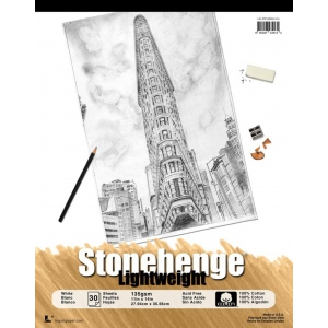 "Stonehenge® 11"" x 14"" Versatile Artist Paper Pad Lightweight White: White/Ivory, Pad, Cotton, 11"" x 14"", Vellum, 135 gsm, (model L21-STP135WH1114), price per pad"