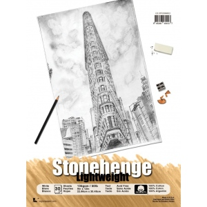 """Stonehenge® 9"""" x 12"""" Versatile Artist Paper Pad Lightweight White; Color: White/Ivory; Format: Pad; Material: Cotton; Size: 9"""" x 12""""; Texture: Vellum; Weight: 135 gsm; (model L21-STP135WH912), price per pad"""