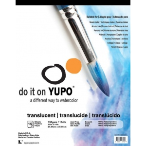 "YUPO® 104 lb. Translucent Synthetic Mixed Media Pad 11"" x 14"": Fold Over, White/Ivory, Pad, 11"" x 14"", Smooth, Mixed Media, 104 lb, (model L21-YPT153WH1114), price per pad"