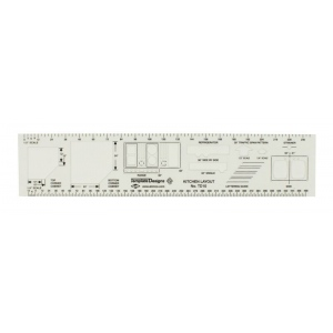 "Alvin® Kitchen Layout Template; Color: Clear; Size: 10 3/4"" x 2 1/4"" x .030""; Type: Architectural; (model TD10), price per each"