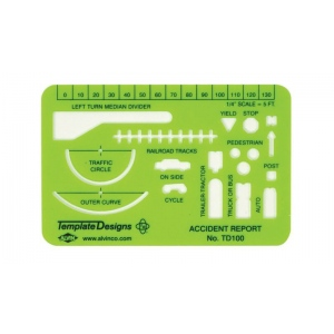 "Alvin® Accident Report Template: Green, 4"" x 2 5/8"" x .030"", General Purpose, (model TD100), price per each"