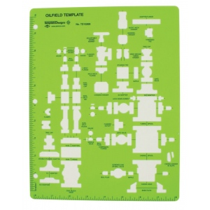 "Alvin® Oil Field Template; Color: Green; Size: 11"" x 8 1/2"" x .030""; Type: Mechanical; (model TD10269), price per each"