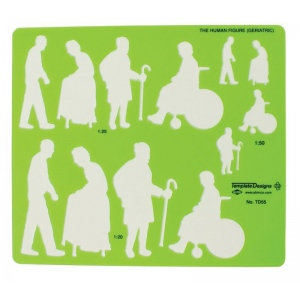 "Alvin® Human Figure Template - Geriatric; Color: Green; Size: 8 1/4"" x 5 3/4"" x .030""; Type: General Purpose; (model TD55), price per each"