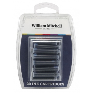 William Mitchell Universal Black Ink Calligraphy Cartridges; Color: Black/Gray; Quantity: 20-Pack; Type: Refill; (model WM30103), price per set