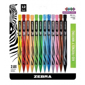Zebra® Cadoozles® Colored Mechanical Pencils 12-Set; Color: Multi; Format: Pencil; Quantity: 12 Pencils; Type: Mechanical; (model Z52812), price per 12 Pencils
