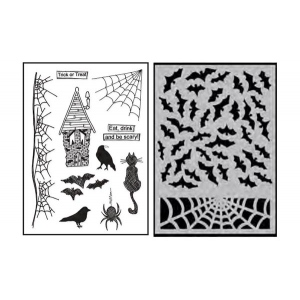 Ranger - Dyan Reaveley - Dylusions -  Stamp and Stencil Set - Halloween 2016 - Eat, Drink & Be Scary