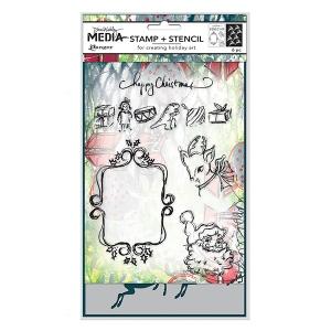 Ranger - Dina Wakley Media - Stamp/Stencil Set - Scribbly Vintage Holiday