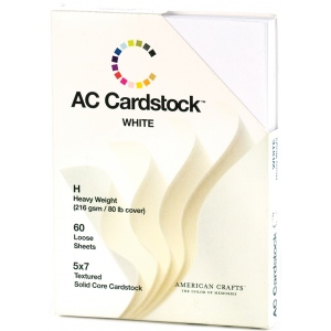American Crafts - Textured Cardstock Pack - 60 Pack - Solid White