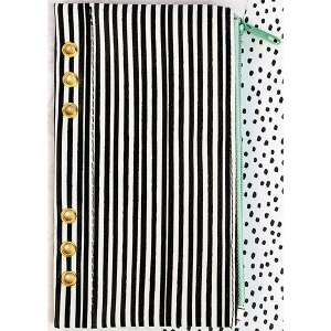 Prima - My Prima Planner - Zippered Pen & Pencil Bag 4inX8in - Cute Stripes with Gold Grommets