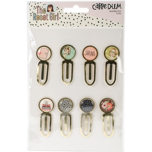 Simple Stories - Reset Girl -  Epoxy Top Metal Clips 8 Pack