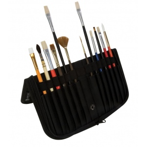 "Heritage Arts™ 10 1/2"" Brush Holder: 14 Brushes, Black/Gray, Nylon, Brush Holder, (model BCB-S), price per each"