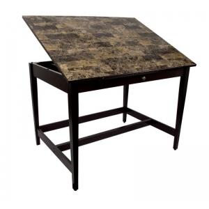 "Alvin® Vanguard™ Drawing Room Table 28"" x 42"" Marble Top: 0-45, Brown, Rubber Wood, Multi, 17""l x 27""w x 1 1/2""h, 33 1/3"", Marble, Rubber Wood, 36"" x 48"", (model VAN42-MB), price per each"