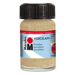 Marabu Porcelain Paint Glitter Gold 15ml: Metallic, Jar, 15 ml, Porcelain, (model M11059039584), price per each