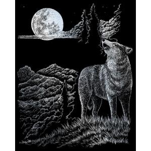 """Royal & Langnickel® Engraving Art Set Silver Wolf Moon: 8"""" x 10"""", Metallic, (model SILF33), price per set"""