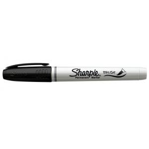 Sharpie® Brush Marker Black: Black/Gray, Brush Nib, Fine Nib, (model SN1810705), price per each