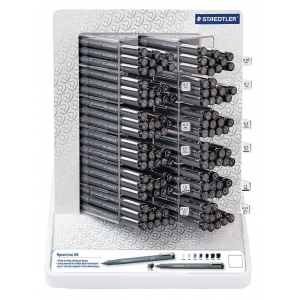 Staedtler® Pigment Liner Display: Assorted, Black/Gray, Pigment, (model 308SMOD5A6D), price per each