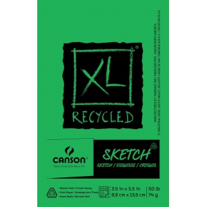 """Canson® XL® 3 1/2"""" x 5 1/2"""" Recycled Sketch Pad (Fold Over): Fold Over, White/Ivory, Pad, 100 Sheets, 3 1/2"""" x 5 1/2"""", Medium, (model C100510920), price per 100 Sheets pad"""