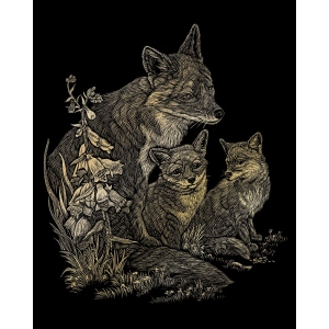 "Royal & Langnickel® Engraving Art Set Gold Foil Fox & Cubs: 8"" x 10"", Metallic, (model GOLF16), price per set"